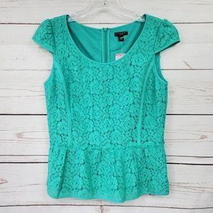 Ann Taylor crochet lace lined peplum blouse